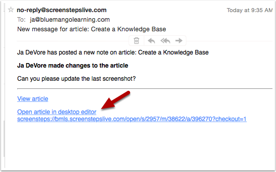Click on Open article in desktop editor