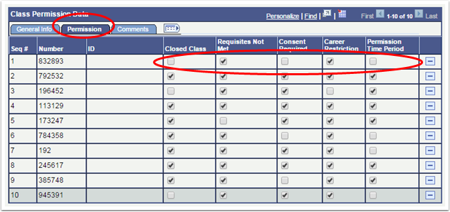 Class Permission Data Permission tab
