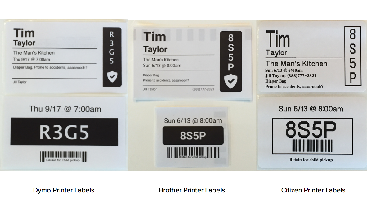 Supported Labels & Printers – Check-Ins