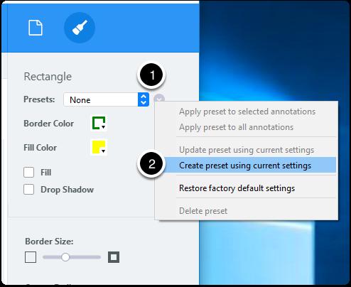 Create annotation preset