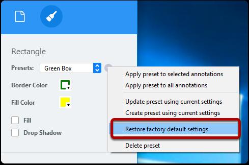 Restore factory default settings