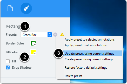 Update annotation preset