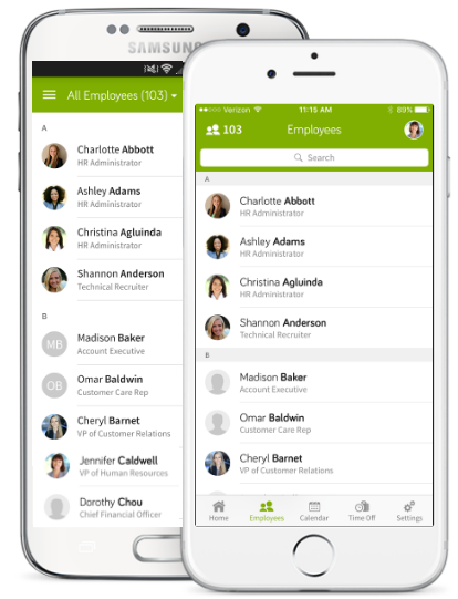 What Features are Available in the Company Directory in the Mobile App?
