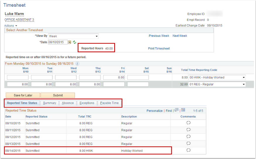 reporting time using a timesheet 13a employee self service