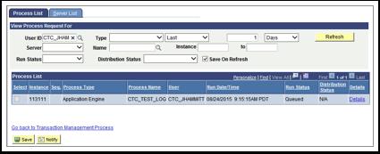 Process List tab