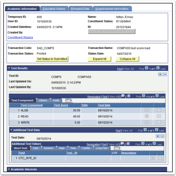 Academic Information tab