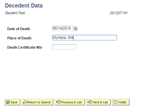 Decedent Data page