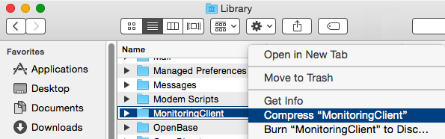 Compress the Monitoring Client folder for review (Mac)