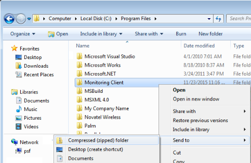 "Send the ""Monitoring Client"" Folder to a ""Compressed Folder"" for review (Windows)"
