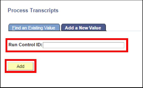 Process Transcripts Add a New Value tab