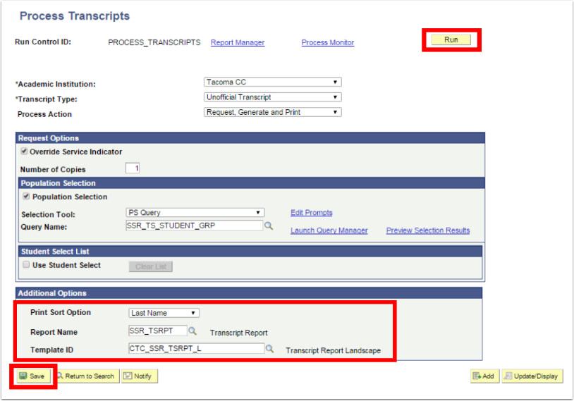 Process Transcripts - Additional options section