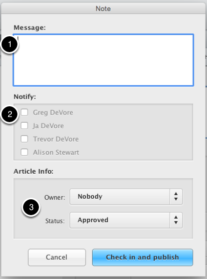 Example of the Check in dialog
