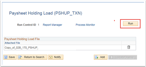 Paysheet Holding Load File section