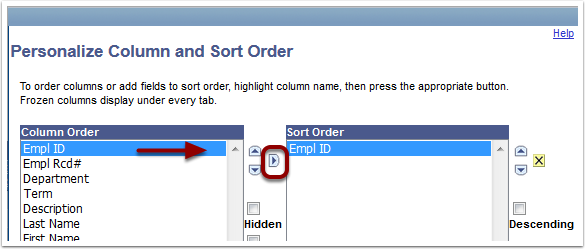 Personalize Column and Sort Order