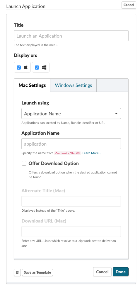 Application Launcher (via Name, Bundle ID, or URL)