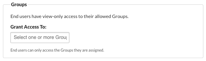 End User Group Permissions