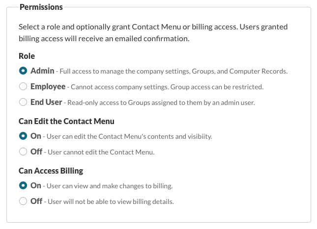 Permissions: Role, Can Edit Contact Menu, Can Access Billing