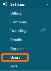 1. Click 'Users' Under 'Settings' in Your Dashboard