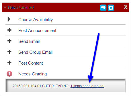 "In the expanded menu, click on the number of submissions that need to be graded followed by the ""items need grading!"" link."