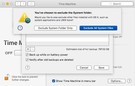 Time Machine Preference Pane: Exclude Items