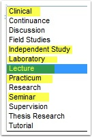 Available Components within the Course Catalog