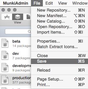 File > Save to rebuild Munki Catalogs
