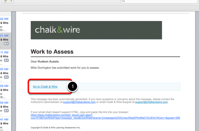 Step 1: Work to Assess/Login to Chalk & Wire