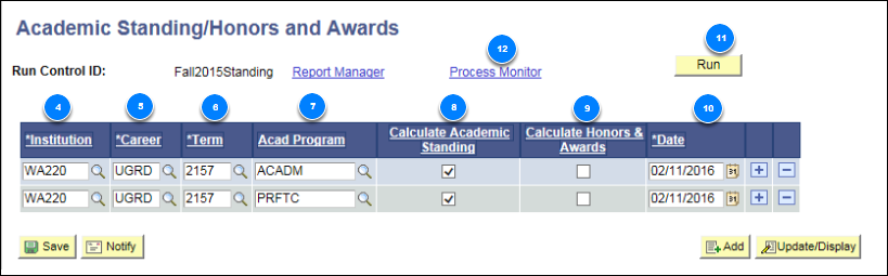Academic Standing Honors and Awards page