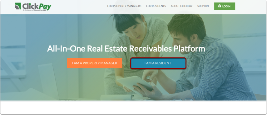 Step 1: Please visit www.clickpay.com or the landing page provided by your landlord to initiate registration