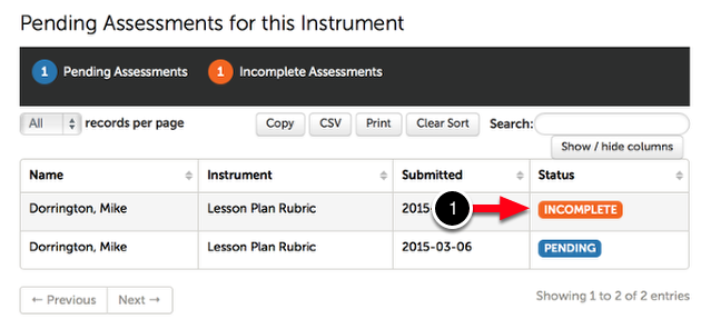 Step 1: Locate Incomplete Assessment