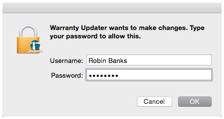 Warranty Updater Authentication