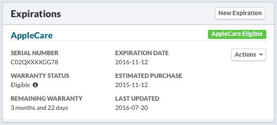 AppleCare Eligible Expiration Summary