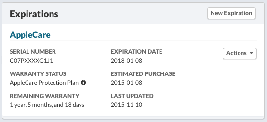 AppleCare Protection Plan Expiration Summary