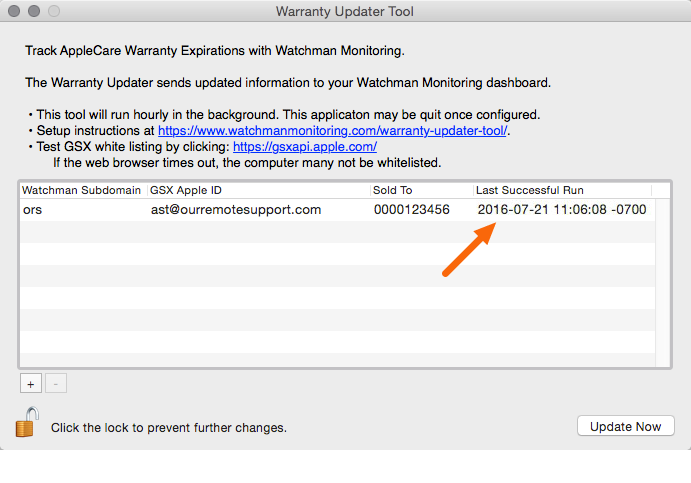 Successful Warranty Updater Tool Lookups