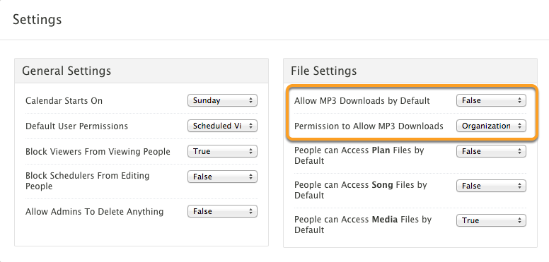 Change Download or Download Permission settings.