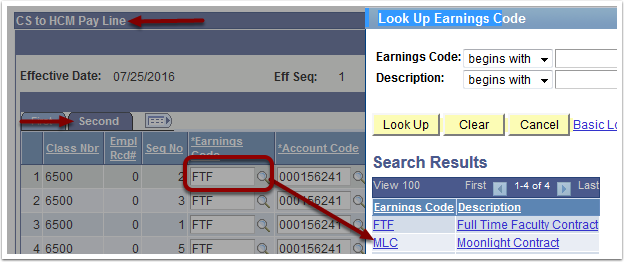 Look Up Earnings Code