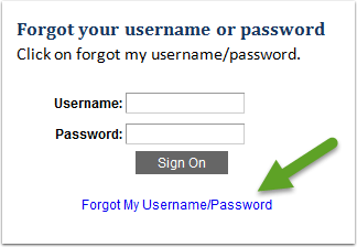 Forgot My Username Password page