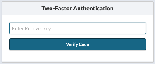 Two-factor Authentication Recovery Key