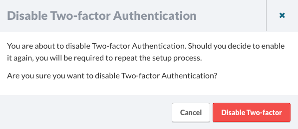 Disable Two-facotr Authentication Confirmation