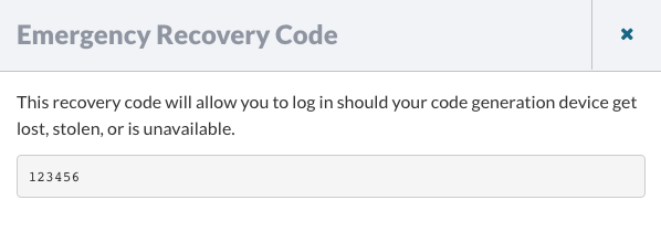 Emergency Recovery Code