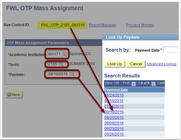 FWL OTP Mass Assignment Parameters