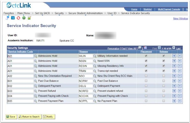 Security Settings section