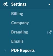 Settings: PDF Reports