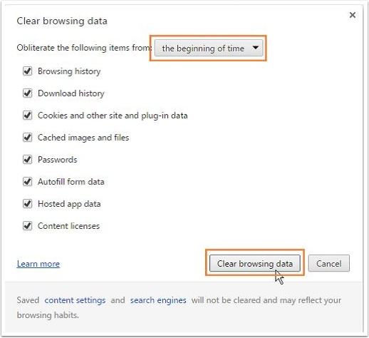 Clear browsing data page