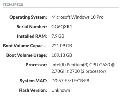 Example WIndows Tech Specs