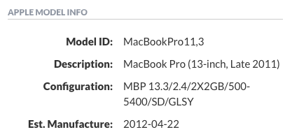 Example Apple Model Information