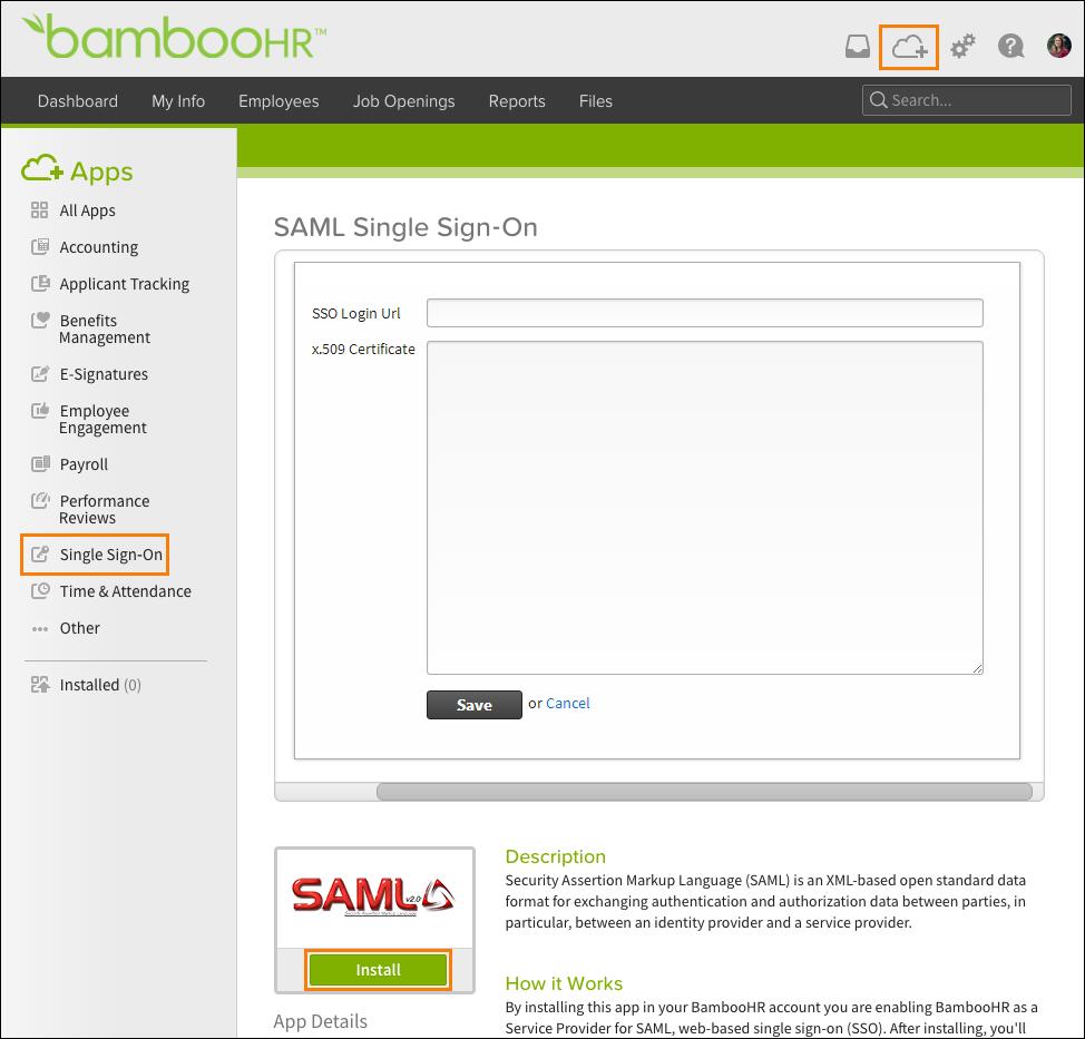 Third Party SAML – BambooHR Support