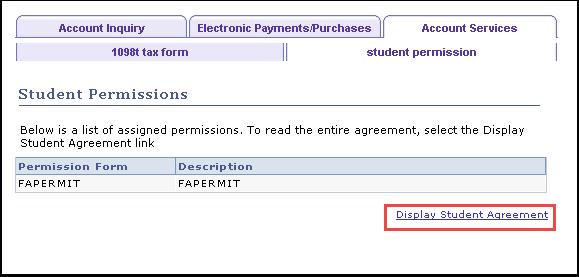 Student Permission tab