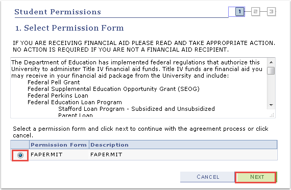 Select Permission Form