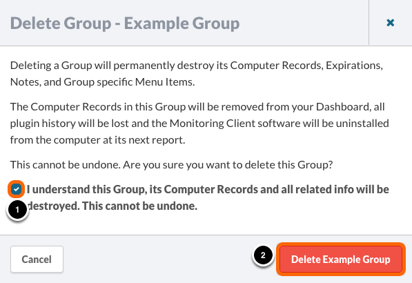 Group Deletion Confirmation